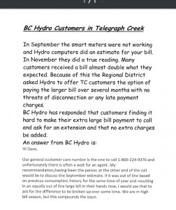 BC Hydro Notice re: billing