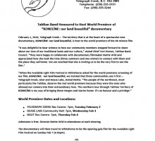 Media Release for World Premiere of the 96 minute film featuring Tahltan community members and lands