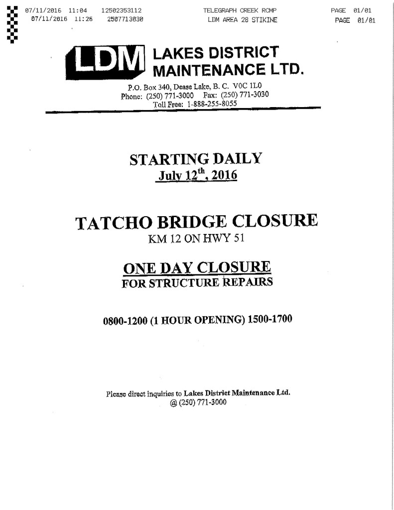LDM Bridge Closure July 12-2016