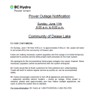Power Outage Notification - June 11th Dease lake