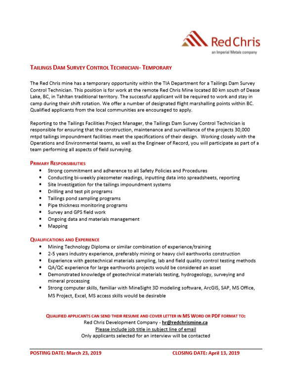 TAILINGS DAM SURVEY CONTROL TECHNICIAN- TEMPORARY - Tahltan Band Council