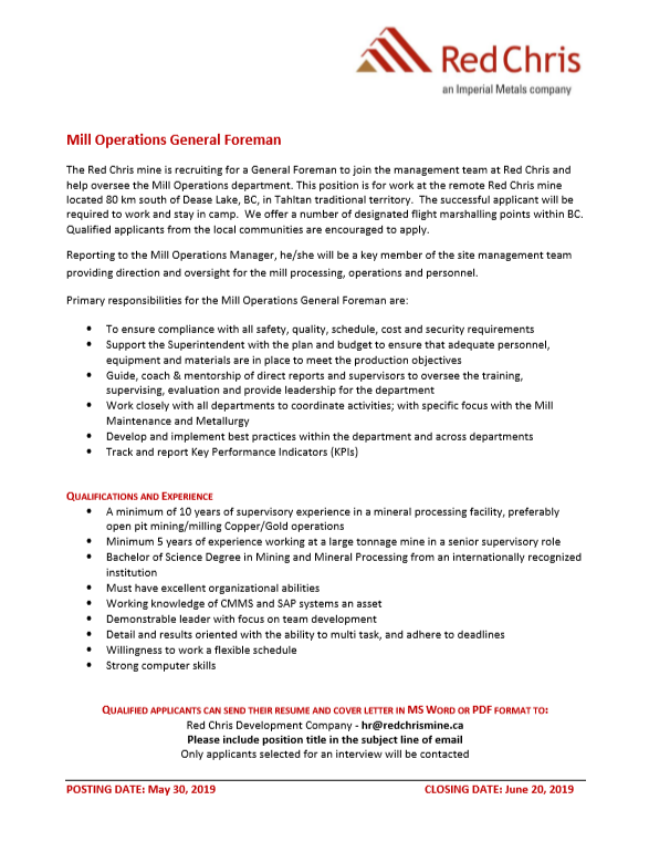 Mill Operations General Foreman - Tahltan Band Council