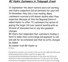 BC Hydro Notice re: billing